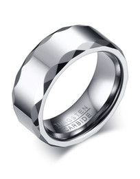 Wholesale Carbide Engraving - Free Engraving 8MM High Polished Tungsten Carbide Ring Mens Wedding Band with Faceted Edge