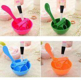 Wholesale Homemade Masks - DIY Face Mask Bowl Brush Spoon Stick Tool Fashion Homemade 6in1 Makeup Beauty DIY Facial Face Mask Tool Set free shipping