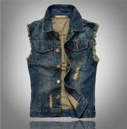 Wholesale Denim Waistcoat Men - Wholesale- VXO Lapel Denim Vest Jacket Hip hop cow boy Waistcoat denim Outerwear patchwork vest motorcycle club vest