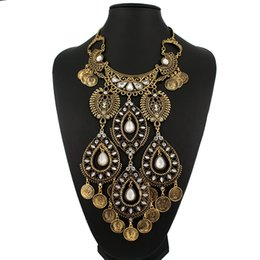 Wholesale Big Coin Necklace - Wholesale-Ancient coin shaped big maxi necklaces & pendants wild Gypsy style fashion fine jewelry bohemian free shipping