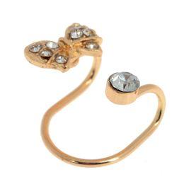 Wholesale Bow Earring Cuff - Retro Bow Tie Ear Cuff Wrap Alloy Crystal Clip Earrings Women Men Clip On Earrings Cartilage Without Piercing