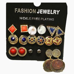 Wholesale Brass Discs - Double Charming Retro gold and brass colour disc 9 Pairs sets earring