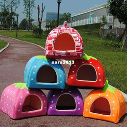 Wholesale Pretty Small Dogs - Free shipping Yurt Style Strawberry Folding Kennel Cute Pretty Cat Dog Bed Very nice Pet House