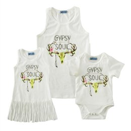 Wholesale Gypsies Dresses - Deer Head print Tshirt Gypsy souls print Mother and kids clothes buck cotton Sleeveless T shirt Romper Dress 12sizes Summer family outfits