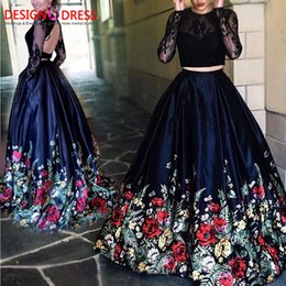 Wholesale Pattern Pictures - 2017 New Fashion Floral Flowers Pattern Print Two Piece Prom Dresses Robe de Soiree Open Back Lace Top Formal Evening Party Gown