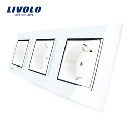 Wholesale White Crystal Glass Switch Panel - Livolo New EU Standard Power Socket, White Crystal Glass Outlet Panel, Multi-function Triple Wall Power Outlet Without Plug