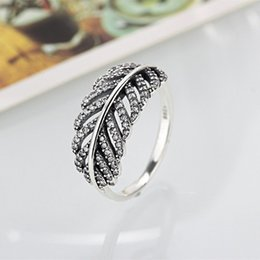 Wholesale Sterling Stone Rings - Pandora S925 Ring Fashion Jewelry 2017 New Arrivals Sterling Silver 5A CZ Princess Row Feather Ring With Crystal Rings Women compatible Gift