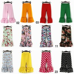 Wholesale Baby Floral Tights - 2017 fall toddler ruffle leggings tights solid polka dot floral pants kids cotton pant infant trousers baby boutique clothing girls legging