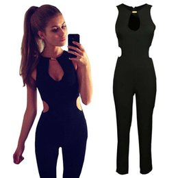 2019 комбинезоны комбинезоны без спинки Wholesale- Summer Women Sexy Jumpsuit Overalls Casual Rompers V-neck Sleeveless Party Clubwear Hollow out Jumpsuits Backless Bodysuit YF309 дешево комбинезоны комбинезоны без спинки