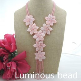 """Wholesale pink gold statement necklace - FC091701 Green FC082602 18"""" 2 Strands Pink Jade Shell Flower Necklace FC091507 18"""" 2 Strands White Jade Shell Flower Statement Necklace"""