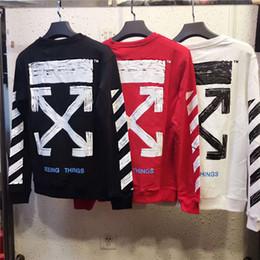 Wholesale Long Outerwear Coats - New OFF WHITE Hoodies Pulloer Long Sleeves Men Women Brand Clothing Outerwear Coats Hip Hop Skateboard Male Hooded Sweatshirts Free Shipping