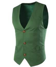 Wholesale Mens Waistcoat Green Vest - Wholesale- Mens Suit Vest Clothing Light Blue White Green Black Cotton Casual Spring Autumn Jacket New Stylish Design Stylish Waistcoat