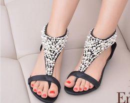 Wholesale Sandal Heels 3cm - 2017 the latest Bohemian national wind sandals - women's bright pearl design sandals   features beaded 3CM heel