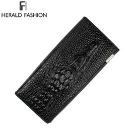 Wholesale Leather Women Money Clips - Wholesale- Herald Fashion Women Wallet Crocodile Head Cow PU Leather Wallet Women Purse 3D Long designer Money Clip Carteira Feminina