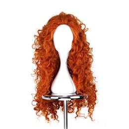 Wholesale Brave Merida Wig - WoodFestival Brave Merida wigs cosplay orange long hair heat resistant synthetic wigs curly anime wig women good quality
