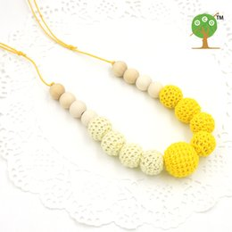 Wholesale Crochet Nursing Necklaces - WHOLESALE Fade Yellow and cream color crochet beads necklace knit ball nursing necklace EN40