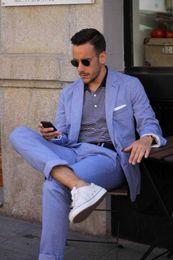 Wholesale Groomsmen Beach Wedding - Summer Casual Mens Suits Blue Linen Suits Notched Lapel Beach Wedding Suits For Men Slim Fit Grooms Tuxedos Two Piece Groomsmen Suit