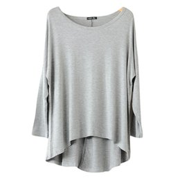 Wholesale Trendy Wholesale Shorts - Wholesale-Trendy 14 Colors Women Casual Batwing Long Sleeve Loose Tops T-shirt Plus Size