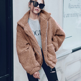 Wholesale Winter Coats Camel Color - 2017 Autumn Winter Fashion Velvet Women Coats New Warm Casual Wool Female Jackets Camel Army Green Black S-3XL