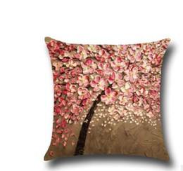 almohadas diseño del árbol Rebajas Party Home Sofa 3D Tree Design Funda de almohada de lino de algodón Cintura Volver Funda de almohada Funda de almohada impresa en 3D 45 * 45cm Textiles para el hogar
