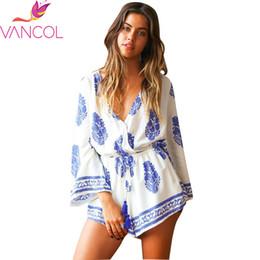 Wholesale Onepiece Woman - Wholesale- Vancol Women Jumpsuit Summer 2016 Floral Print VNeck Flare Sleeve Beach Wear OnePiece Overalls Shorts Plus Size Sexy Jumpsuit