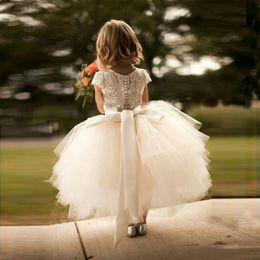 Wholesale Girl Formal Skirt Pink - 2017 New Arrival White Lace and Tulle Flower Girl Dress Short Sleeve Sash Layed Tutu Skirt Kids Formal Wear Dresses Custom Made