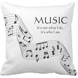 Wholesale Music Pillow Cases - Pillow Case, Black and White Music It's Who I Am Note Square Sofa and Car Cushions Cover (16inch,18inch,20inch)