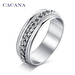 Wholesale Steel Rotating Rings - CACANA Stainless Steel Rings For Women Rotating Key Chain Fashion Jewelry Wholesale NO.R170