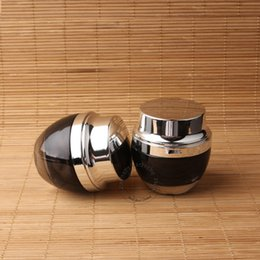 Wholesale Cream Can Lid - Wholesale- 2pcs Lot New Glass 50g Cream Jar Women Makeup Facial Cream Vial Refillable Silver Lid Lotion Bottle Refillable Can