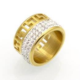 Wholesale G Finger Rings - Gold Color Hollow G Pattern Ring Fashion Crystal Jewelry Titanium Steel Finger Ring For Women And Men Greek Key Wedding Ring