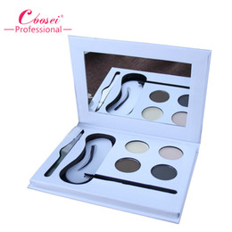 Wholesale Eyebrow Tweezer Kit - Wholesale- High Quality 4 Color Eye Brow Powder,Professional Eyebrow Makeup Kit With Mirror,Brow Pomade,Tweezer,Stencils And Brow Brush