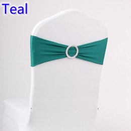 Wholesale Cover Chair Sale - Teal dark green colour on sale chair sash with Round buckles for chair covers spandex band lycra sash bow tie wedding decoration