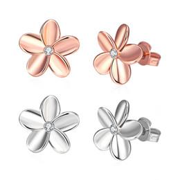 Wholesale Earrings Fashion Jewelery - Earrings Silver 925 Beautiful Flower Earring Gold Fashion Jewelry Push-back Stud Plant Romantic Jewelery Christmas Earrings