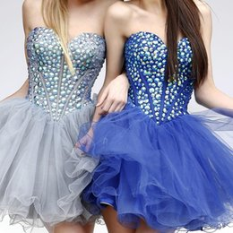 Wholesale Sexy Corsets For Size 12 - Crystal Corset Short Prom Dresses 2017 Shinny Beads Sweetheart Party Dresses Blue Dress For Graduation WP235