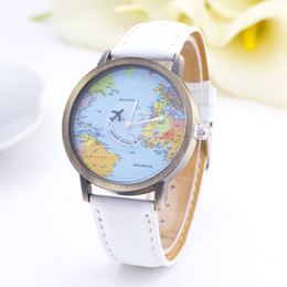 Wholesale Folding Maps - Wholesale- 2016 Causal Fashion Map aircraft Jean Fabric Band Quartz Wrist Watch Men Women Watches for Valentine's Day gift geneva watch