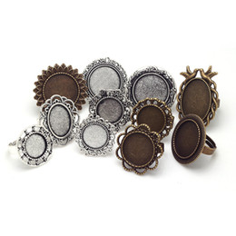 Wholesale metal jewelry cabochon blanks - Mixed Adjustable Ring Bases Blanks Cabochon Rings Settings Antique Metal Zinc Alloy Jewelry Ring Setting 11pcs lot 8054
