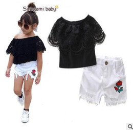 Wholesale Wholesale Children Clothes America - Baby Outfits Europe and America Style Black Lace Off Shoulder Tops White Ripped Shorts 2pcs Girls Clothing Set Summer Children Clothing