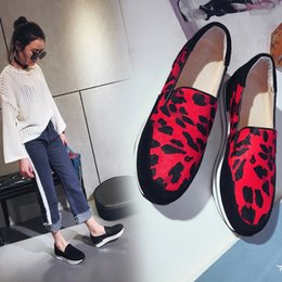 best spring shoes leopard wedge - Wedges Platform Sneakers Slipony Women Casual Shoes Horse Hair Suede Patchwork Black Red Leopard Round Toe Fashion 2017 Autumn New All Match