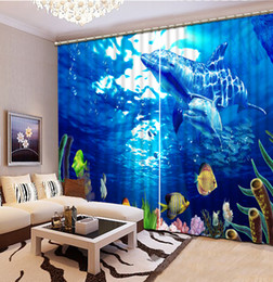 Wholesale Dolphin 3d Bedding - High Quality Customize size Modern fashion window curtains ocean dolphin 3D Window Curtains For Bedding room