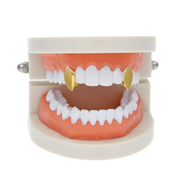 Wholesale Tooth Water - New Silver Gold Plated Water drop shape Hip Hop Single Tooth Grillz Cap Top & Bottom Grill for Halloween Party Jewelry