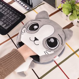 Wholesale Mouse Pad Cartoons - Winter Warm Mouse Pad Thick Cartoon Plush Hand Warmer Heated Mouse Mat USB Port with Wristguard