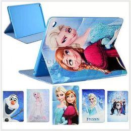 Wholesale Pro Princess - For iPad 6 5 Air 2 1 mini 4 Samsung tab 4 T550 Frozen Elsa Anna Princess Cartoon PU Casewith Kickstand OPP BAG