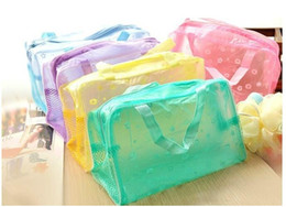 Wholesale Bath Cosmetic Bag - Travel must-transparent cosmetic bag wash bag wash bath toiletries pouch large capacity with Mesh 5 colors 10pcs lot