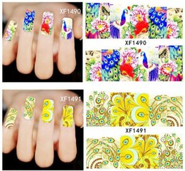 Wholesale Peacock Nail Wraps - Fashion Designs Nail Art Sexy Peacock Colorful Feather Stickers Nail Decals Women Full Wraps Makeup Tools 50pcs free shipping