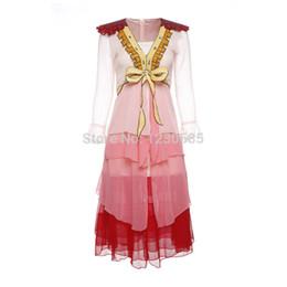 Wholesale Envío gratis rosa profundo v cuello mangas largas volantes vestido largo de las mujeres lentejuelas de la vendimia vestido de la pista de noche fiesta elegante