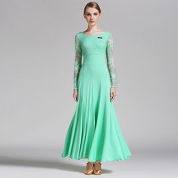 Wholesale Dancing Dresses Cheap - Ballroom Dance Dresses 2017 New Lady's Lace Sleeve Stage Dancing Costumes Women Cheap Waltz Costume Ballroom Dress