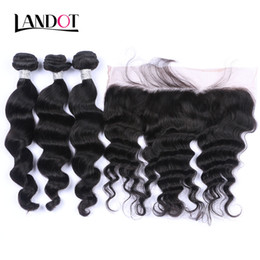 Wholesale Human Hair Wavy Lace - Ear to Ear Lace Frontal Closure With 3 Bundles Brazilian Loose Wave Curly Virgin Peruvian Indian Malaysian Wavy Human Hair Weaves Closures