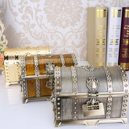 Wholesale Gift Box Decoration Vintage - 20*13*12.8cm Metal Alloy Treasure Box Chest Vintage Home Decoration Jewelry Case Birthday Gift For Friend ZA4656