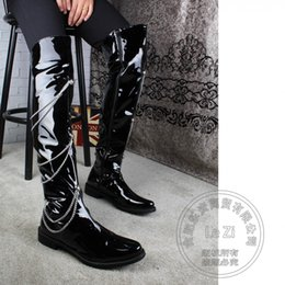 Wholesale Male Thighs - Punk Japanned Leather Stockings Male Zip Rivets Pointy Thigh Black Over Knee Biker Motorcycle Boots Pole Dancing Cosplay Chains
