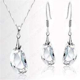 Wholesale Sterling Silver Necklace Earrings Set - Jewely Sets Waterdrop Shaped Charms Crystal Wedding Engagement 925 Sterling Silver Earring Necklace Women Party Gift Wholesale